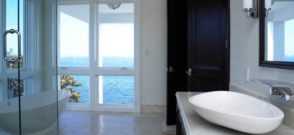 Extravagent Master Bath with Amazing Bay Views