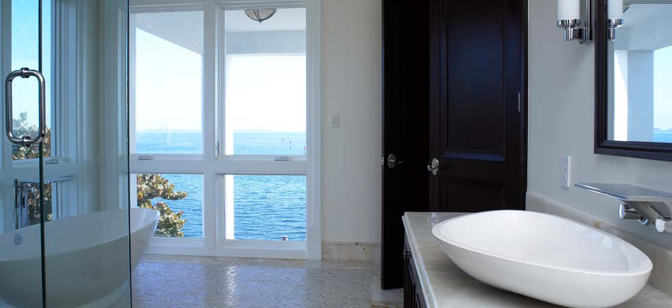 His & Hers Master Bath With Bay Views